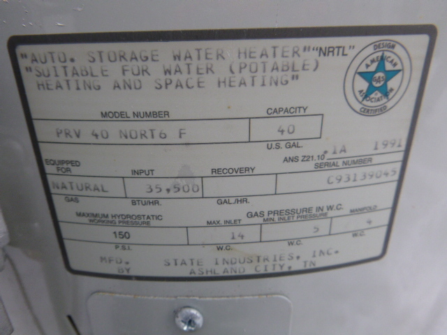 state 510e water heater manual