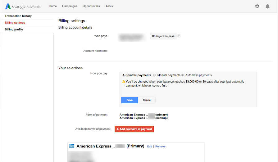 how to change adwords automatic payments to manual