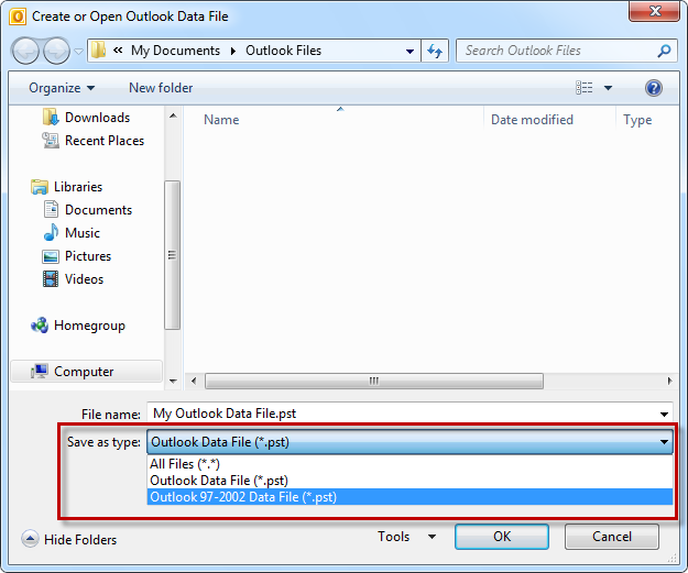 manually create archive folder in outlook 2013