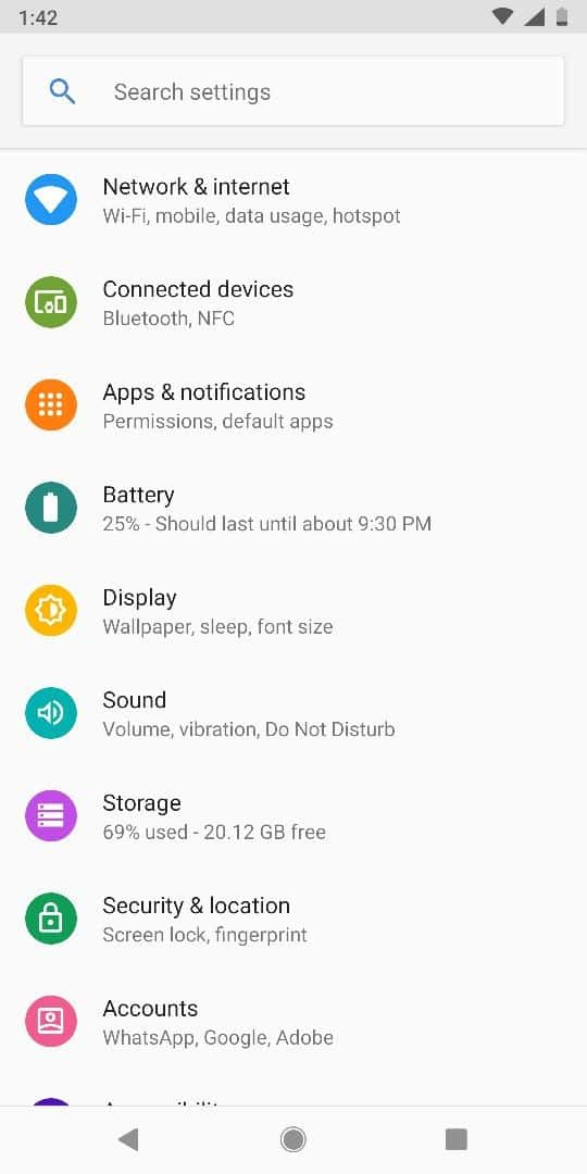 manual configuration settings for android