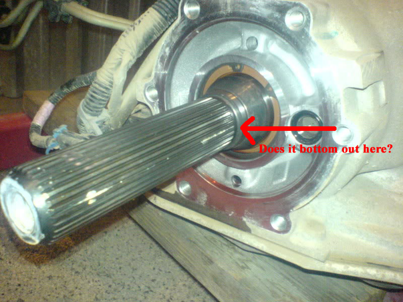 manual transmission output shaft sticking out to far